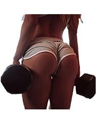 Pantalones cortos HARRYSTORE mujer pantalones cortos deportivos y elásticos de yoga de verano Shorts de playa de cintura alta correr Fitness (Gris, M)