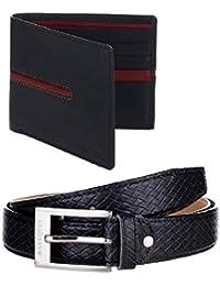 MarkQues Men's Black And Black Leather Wallet & Belt Combo (EXE-220107 URB-01)