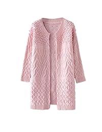 Beverlly Cardigan Mujer Primavera Otoño Largos Rosario Colores Sólidos Elegantes Estilo Simple Informales Cute con Abrigo