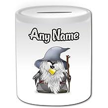 Regalo personalizado – Gandalf caja de dinero (pingüino película carácter tema de diseño, color blanco) – cualquier nombre/mensaje en su único – disfraz de ...