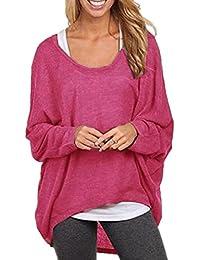 Damen Fledermaus Oversize Tunika Feinstrick Pulli Shirt weiß Gr 46 48 50