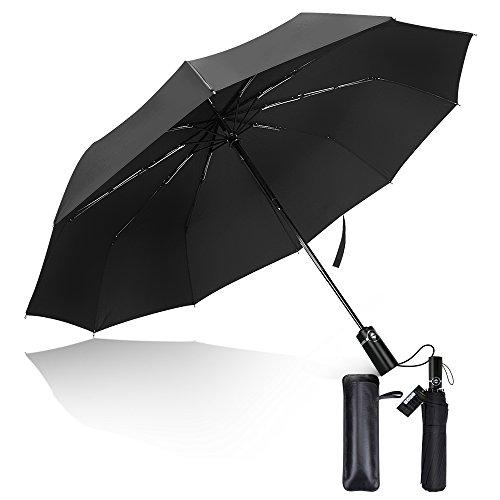Ombrello Pieghevole Automatico, Compatto Antivento Ombrello da viaggio con 10 Stecche Rinforzate, Impermeabile ad alta densità, Asciugatura Rapida, Anti-UV, Custodia in Pelle
