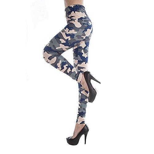 YesFashion Femme Armée Commando Militaire Imprimer Legging Camouflage Women jeggings Leggings ONE SIZe Navy Bleu