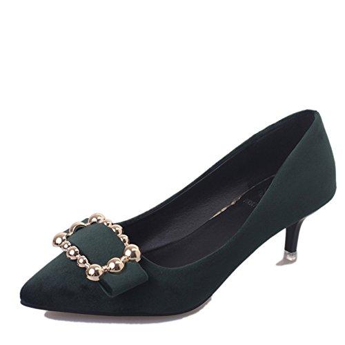 Ladies fashion chaussures occasionnelles au printemps/shallow pointes côté boucle high heels/Chaussures à talon B