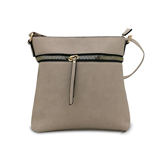 Borsa da donna Cool Girls Fashion a tracolla da donna in pelle nappa/Cross/secchio e zip Cross bag, panna LIGHT GREY ZIP CROSS BODY BAG (2553)