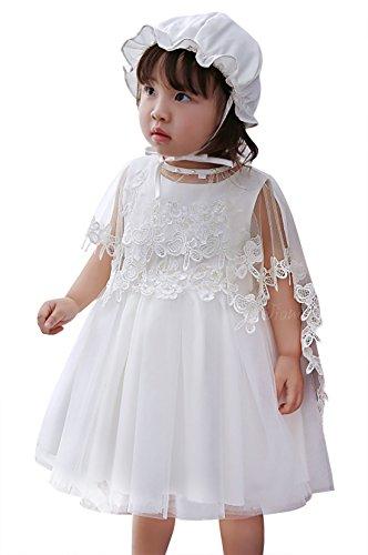 HAPPY CHERRY Baby Kleid Taufe Set Geschenk für Babymädchen Kleid & Pelerine & Hut Größe 18T für...