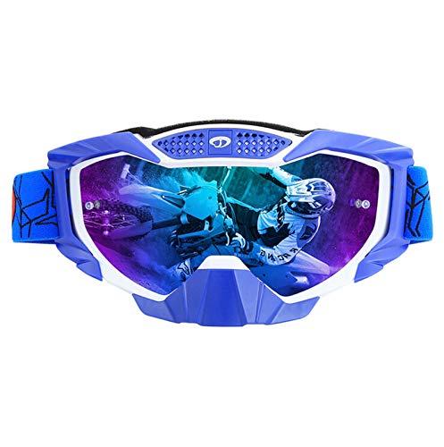 AmDxD TPU Motorradbrillen Radsportbrille Skibrille Staubschutz Anti-Nebel Schutzbrillen Outdoor Schutz für Skifahren Schneemobil Motorrad Fahrrad, Weiß Blau Bunt
