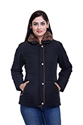 Trufit Full Sleeves Solid Womens Black Fur Collar Polyester Bomber Jacket