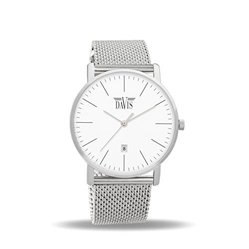 Davis 1990MB - Mens Womens Design Watch Classic Ultra Thin Case White Dial Date Mesh Milanese Strap