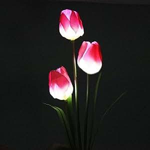 Solaire Lampe 3LED Fleur Tulipe pour Jardin Pelouse Cour Patio Déco Noel Fête
