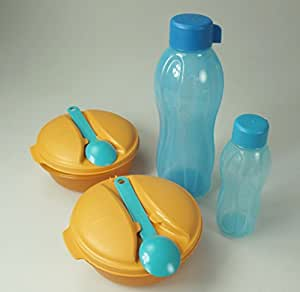TUPPERWARE On the Go fruits 600 ml (2) + Cuillère+Eco Bouteille 750 ml + 310 ml