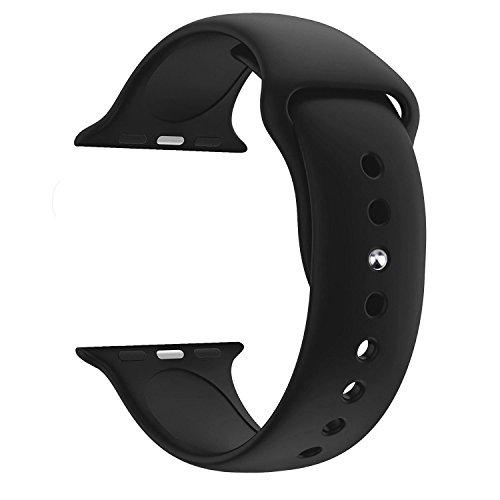 Ersatz-uhrenarmbänder Schwarz (Uhrenarmbänder ZEIGER Silikon Armband Ersatz Uhrarmband Schwarz Edelstahl Faltschließe Uhr Armband 42mm Uhren Band für iWatch 1 2 3 Apple Watch B035-BLA)