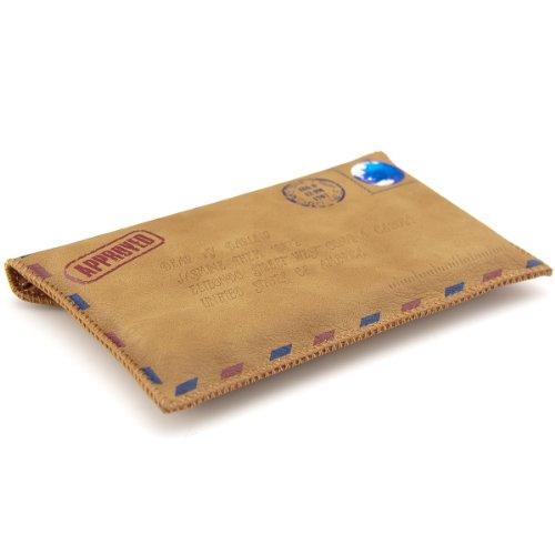 Preisvergleich Produktbild kwmobile Hülle Slim Case für Smartphones mit Mail Design - Schmale Kunstleder Schutzhülle Tasche Cover in Hellbraun