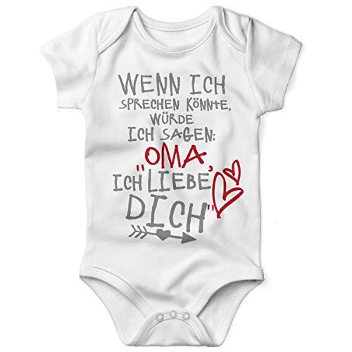 Mikalino Babybody mit Spruch für Jungen Mädchen Unisex Kurzarm Wenn ich sprechen könnte würde ich Sagen: Oma ich Liebe Dich | handbedruckt | Handmade with Love, Farbe:Weiss, ()