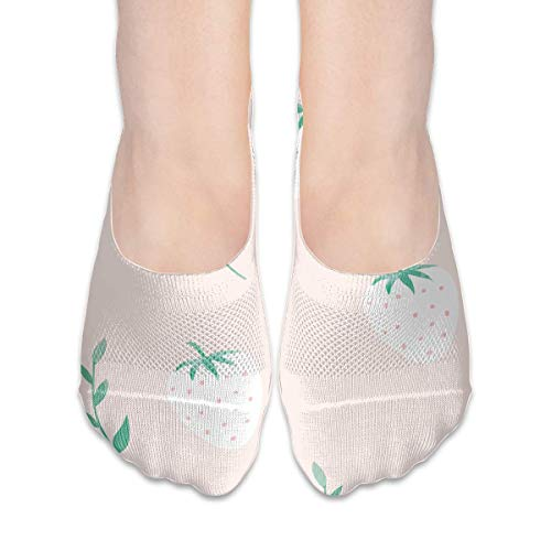 Kotdeqay Pink Strawberry Tree Leaves Pattern Suits Female Anti-Slip Boat Socks,Unique Casual Thin Polyester Cotton Low Cut Socks,Hidden Flat Boat Liner - Knie-boot-liner-socke