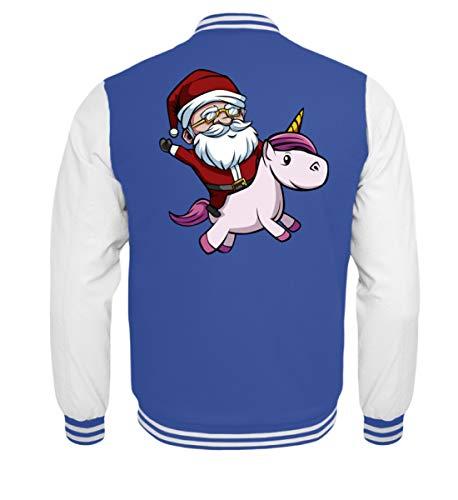 Kleidungskulisse Weihnachtsmann Reitet Einhorn Frohe Weihnachten Merry Christmas Xmas Weihnachten Geschenk - Kinder College Sweatjacke (Reitet Mädchen Einhorn)