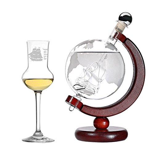 Grappa-Set Flasche Weltkarte und Schiff Globus befüllt 500 ml Grappa - Geschenkidee Geburtstag - Grappaglas 87ml Grappakelch - Gravur Segelschiff