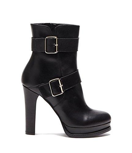 Poi Lei PoiLei Noemi - Damen-Schuhe/Exklusive Plateau-Stiefelette Aus Echt-Leder - Ankle-Boot mit High-Heel Block-Absatz IM Biker Look - Schwarz (Boots Echt Leder Ankle)