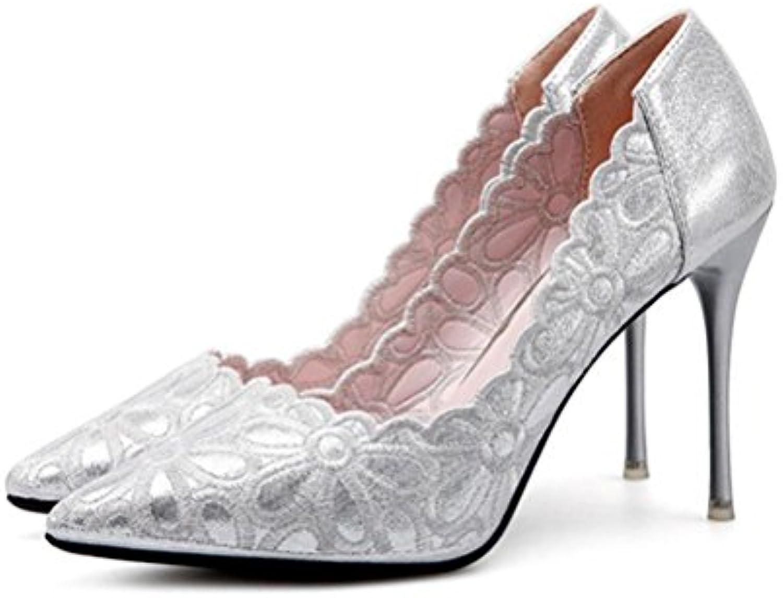 QPYC Femmes talon peu aiguille motif pointu bouche peu talon profonde chaussures de mariage discothèque haut talon chaussures...B07C9R8MMCParent dec620