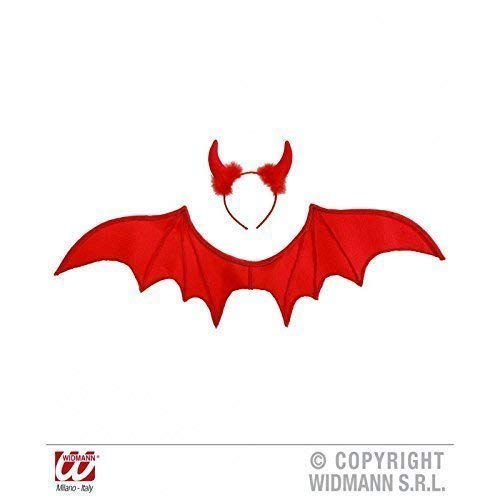 Lively Moments Roter Teufel mit Flügeln und Teufelshörner / Teufelsschwingen / Fasching / Halloween / Teufelskostüm Zubehör (Teufel Kostüm Mit Flügeln)