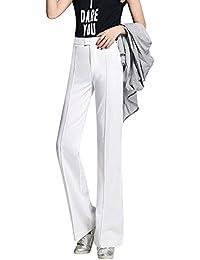 Mujeres Color Sólido Pierna Ancha Pantalones Casual Delgado Cintura Alta Rectos Pantalón Blanco S