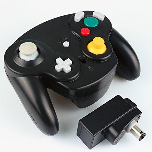 Exlene® Contrôleur sans fil Gamepad pour Nintendo Gamecube (noir), compatible avec Wii