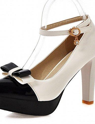 WSS 2016 Chaussures Femme-Bureau & Travail / Habillé / Décontracté-Noir / Rose / Blanc / Beige-Talon Aiguille-Talons-Talons-Similicuir black-us7.5 / eu38 / uk5.5 / cn38