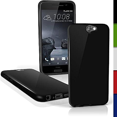 igadgitz Solido Nero Lucido Protettiva Custodia Gel TPU per HTC One A9 (2015) Case Cover + Pellicola
