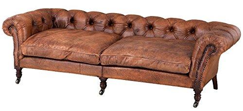 Casa Padrino Luxus Echt Leder Sofa Vintage Leder Tobacco Braun – 3 Sitzer – Luxus Hotel Club Möbel
