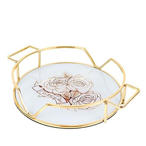 Einfache Retro-Tablett Goldene Glasschale Kosmetik-Tablett Schmuck Tablett Modell Zimmer Dekoration Phnom Penh Rose (Länge 31Cm, Breite 31Cm, Höhe 6,6 cm)