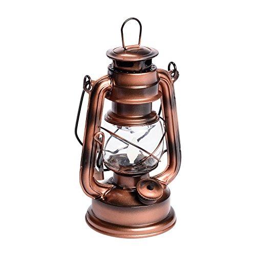 LuminalPark Lanterne Old Style Color cuivre Antique à Batterie, H 19 cm, LED Ambre
