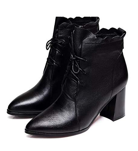 Damenschuhe Winter Dicke Stiefeletten Weiblich Spitze Strap Martin Stiefel Mittlere Ferse Schuhe Einzelne Stiefel (Farbe : SCHWARZ, größe : 38) -