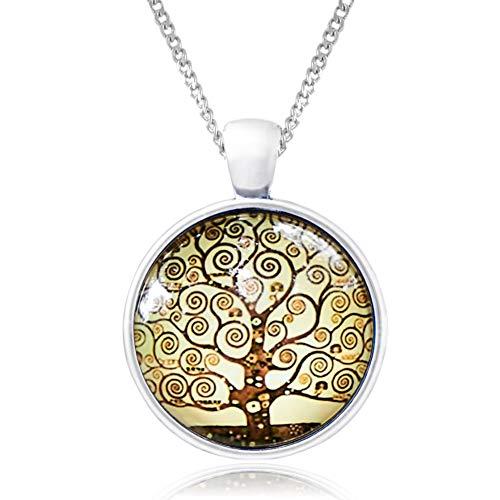 Klimisy - Lebensbaum Halskette mit Anhänger - Buy one & Plant one Tree - Hochwertige Halskette aus Edelstahl mit Medaillon aus Glas - Eco & Fair -