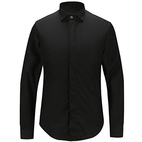 A Maniche Lunghe Personalità Shirt Slim Moda Maschile Slim Black