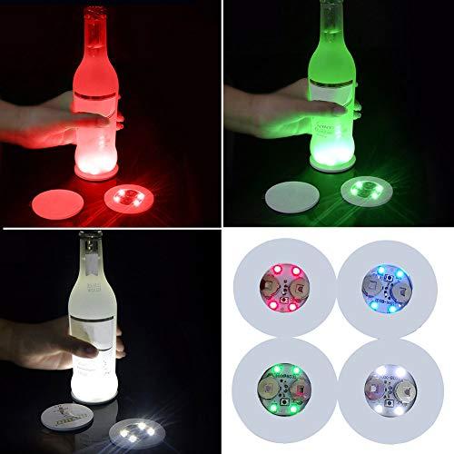 2 posavasos con forma redonda, 3 modos, 4 luces que cambian de color, para cerveza, vino, botella de bebida, lámpara de ambiente interior, Colorful, Tamaño libre