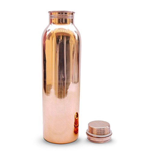 Vaibele Copper Bottle 1000ml (1 Liter) Plain Pure Copper Without Lacquer Coating