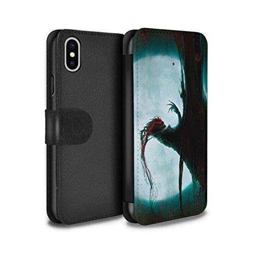 Offiziell Chris Cold PU-Leder Hülle/Case/Tasche/Cover für Apple iPhone X/10 / Kriegsheld/Warlock Muster / Dämonisches Tier Kollektion Dramargu/Vollmond