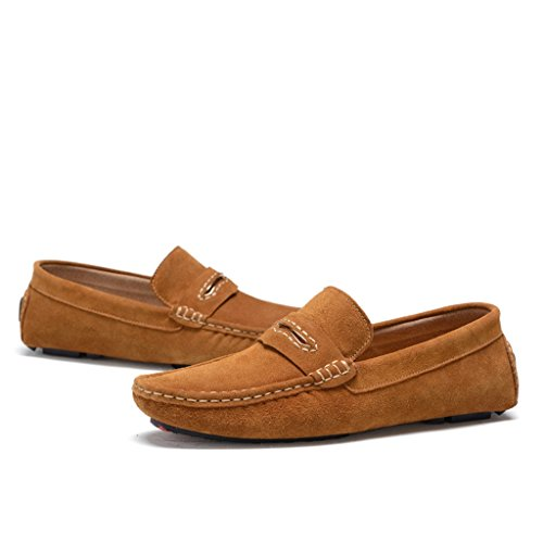 Men's Minitoo à rayures attrait outils Loafers Chaussures bateau en cuir Marron - marron
