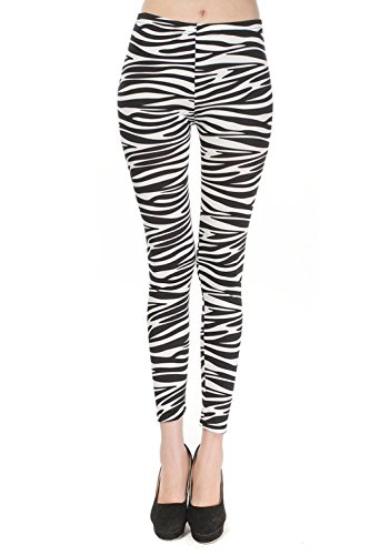 Women's Stretchy Zebra Print Footless Leggings - one size
