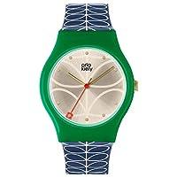 Orla Kiely Unisex Adult Analoog Klassiek Quartz Horloge met Lederen Band OK2224