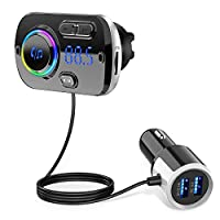 EiioX Bluetooth FM Transmitter for Car,Bluetooth 5.0 Radio Adapter QC3.0 Fast Car Charger Adapter Kit with 2 USB Ports, Built-in Mic Hand-Free Calling MP3 Music Player TF Card Smart AUX Input/Output