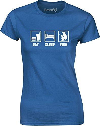 Brand88 - Eat Sleep Fish, Gedruckt Frauen T-Shirt Königsblau/Weiß