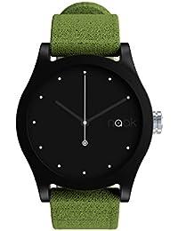 Elemental Leaf - Reloj unisex con correa de lona intercambiable.