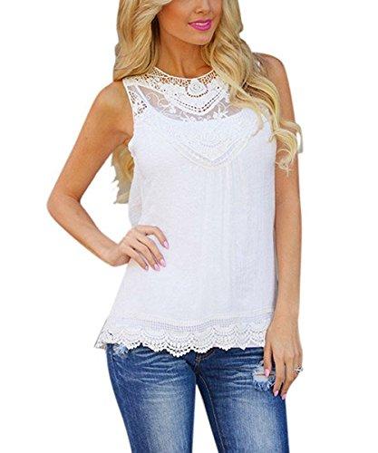 WanYang Damen Sommer Mode Weste Kurzarm Bluse Lässige Tank Tops T-Shirt Weiß