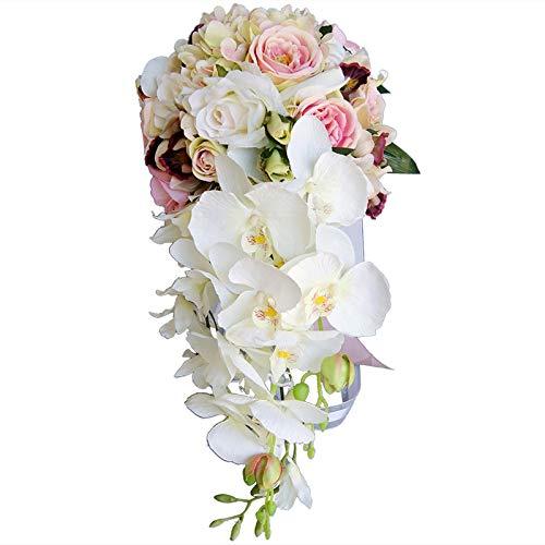 Cikuso cascata tipo goccia d'acqua bouquet rosa bianco fiori da sposa bouquet da sposa bouquet da sposa artificiali bouquet da sposa rosa proporre matrimonio fotografia