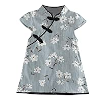 Auied Toddler Kids Baby Girl Floral Midi Dress Casual Princess Party Dress Clothes(Blue,120(3-4 Years))
