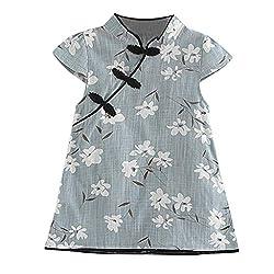 YWLINK Baby MäDchen Floral Chinesisches Kleid Qipao äRmelkurz Midi Kleid LäSsige Prinzessin Party Kleid Cheongsam(Blau,100)