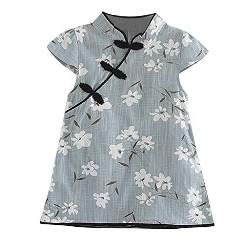 YWLINK Baby MäDchen Floral Chinesisches Kleid Qipao äRmelkurz Midi Kleid LäSsige Prinzessin Party Kleid Cheongsam(Blau,110) (Für Jugendliche Schneewittchen-kostüme)