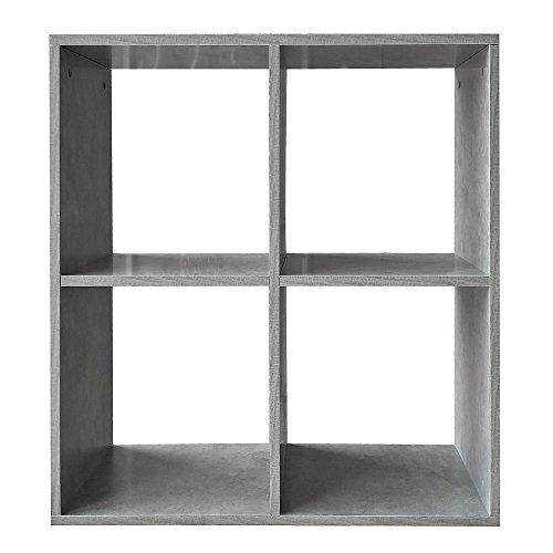 Melko® Regal, Bücherregal, Raumtrenner, Raumteiler, Standregal, Aktenregal zur idealen Aufbewahrung, 4 Fächer, grau, 70 x 73 x 29 cm
