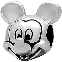 Cuenta para pulsera de Mickey Mouse, plata de ley